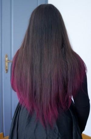 Pin cheveux noir et une couleur violet rose au devant - Couleur rose violet ...