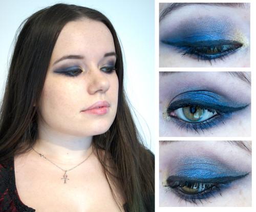 Maquillage avec robe bleu roi